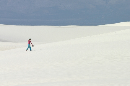 White Sands H - These two images illustrate how the same image might be better  if rotated 90 degrees to better suit the subject. The horizontal image gives a better sense of scale and better balance. (Canon Digital Rebel w/400mm f/5.6L, 1/640th sec @ f/8, ISO 100)